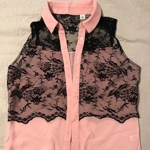 Pink & Black Sleeveless top